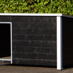 Hondenhok geimpregneerd Loebas zwart/wit 195x127x122 cm