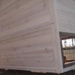 konijnenhok met massief houten achterwand