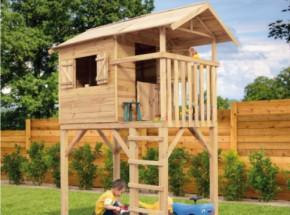 Houten speelhuisje Treehut is een speelhuisje van hout, met optionele glijbaan (kinderspeelhuisje Prestige Garden Treehut)
