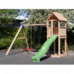 Speeltoren Blue Rabbit Kiosk hoog Douglas met schommel-aanbouw en glijbaan