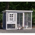 Konijnenhok Budget White-Gray met kunststof dak en legnest 168x65x87cm