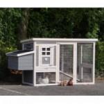 Konijnenhok Budget White-Grey met kunststof dak en legnest