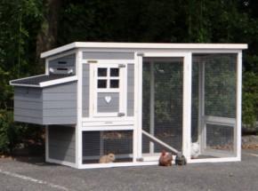 Konijnenhok Julia white-grey met kunststof dak en nestkast 200x75x104cm