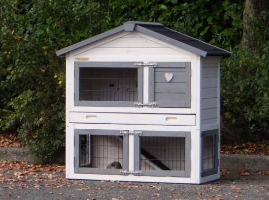 Konijnenhok Regular Small Anti Knaag - White-Grey 101x51x101cm