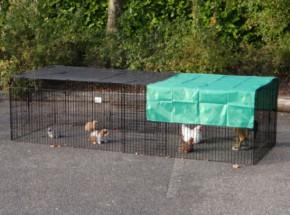Dierenren Jeffrey met zonnescherm, geschikt als konijnenren of kippenren