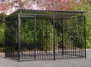Hondenkennel FLINQ zwart met dak 2x3m