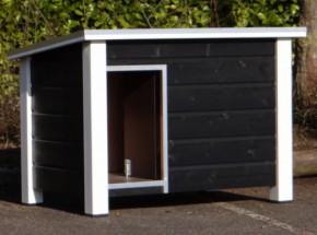 Hondenhok voor buiten, Ferro zwart/wit 129x85x85cm