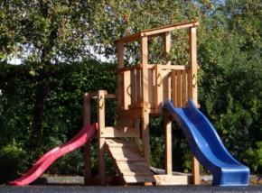 Speeltoren Blue Rabbit Cascade laag Douglas met glijbanen Luxe houtpakket, gratis gezaagd