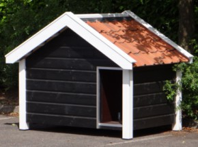 Hondenhok Snuf Zwart/Wit geisoleerd met verwarming in de vloer 176x126x140cm