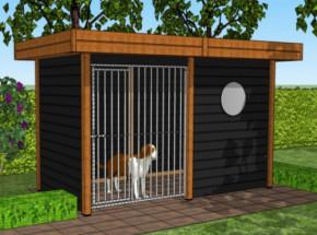 Hondenkennel Modul - Douglas-Zwart 3x1,5m: mooie, zwarte hondenren