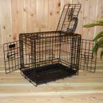 Zwarte hondenbench 48cm, stevige uitvoering met 3 deuren