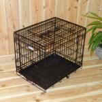 Zwarte hondenbench of draadkooi, stevige uitvoering, zware kwaliteit, afmeting 63x45x52cm