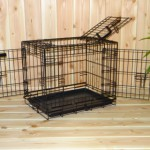 Hondenbench 63cm met drie deuren, zwarte bench voor wat kleinere honden
