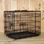 Hondenbench of draadkooi, zwart, stevig, 3 deuren, met gratis anti-slip voetjes, afmeting 63x45x52cm