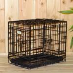 Stevige, zwarte Hondenbench 48cm, met 3 deuren en met gratis anti-slip voetjes, afm. 48x32x39cm