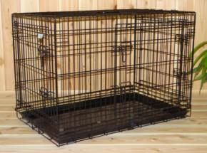 Hondenbench 93cm met anti-slip voetjes is een stevige draadkooi van 93x57x65cm