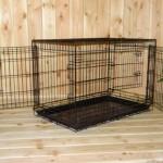 Hondenbench 93cm, zwarte bench met 3 ruime deuren met dubbele sluiting