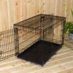 Zwarte Hondenbench van 93x57x65cm, zeer stevige bench met 3 deuren