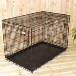 Stevige, zwarte hondenbench voor grote honden, afm. 124x76x83cm