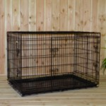 Grote Hondenbench 3-deurs, met anti-slip voetjes, zwarte hondenbench van 124x76x83cm
