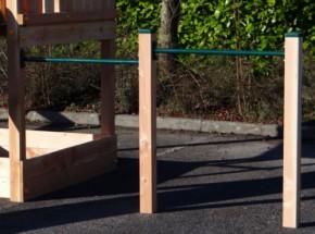 Aanbouw dubbel turnrek Groen - met 2 Douglas palen 90 & 125 cm