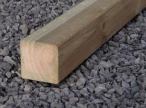 Paal voor duikelstang van geïmpregneerd grenenhout, afm. 88x88x2000 mm