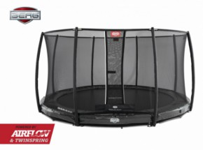 BERG InGround trampoline Elite Grijs - met safetynet Deluxe 430cm
