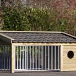 Hondenkennel Roxy 3 met blauw gesmoorde dakpannen