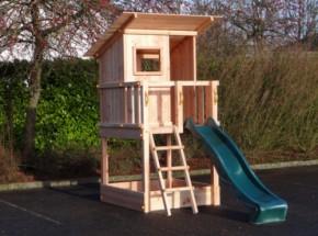 Speeltoren Blue Rabbit Beach hut Douglas met glijbaan: ruim speelhuis met glijbaan