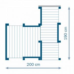 Plattegrond van het grote, houten speeltoestel Penthouse