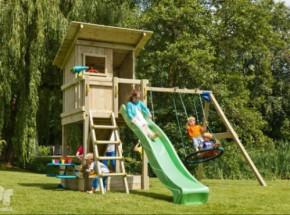 Speeltoestel Beach Hut hoog met glijbaan, schommel, klimwand en picknickset