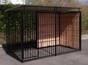 Hondenkennel FERM Zwart Inclusief dak 1,5x3m