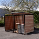 Hondenkennel FERM Zwart 300x150cm, inclusief dak en hondenhok Select