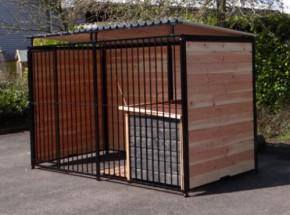 Hondenkennel FERM Zwart Inclusief dak en hondenhok Select 1,5x3m