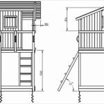 Blue Rabbit speeltoestel Beach Hut, schets met afmetingen
