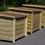 Een trap van houten hondenhokken uit onze Select serie