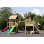 Speeltoren Park met 3 glijbanen, klimwand en accessoires Geïmpregneerd houtpakket, op maat gezaagd Blue Rabbit