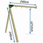 Aanbouwschommel Dubbel Succes laag Douglas hout 240x240x212cm