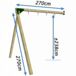 Schommel Dubbel Succes Hoog als aanbouw, in Douglas hout 270x270x238cm